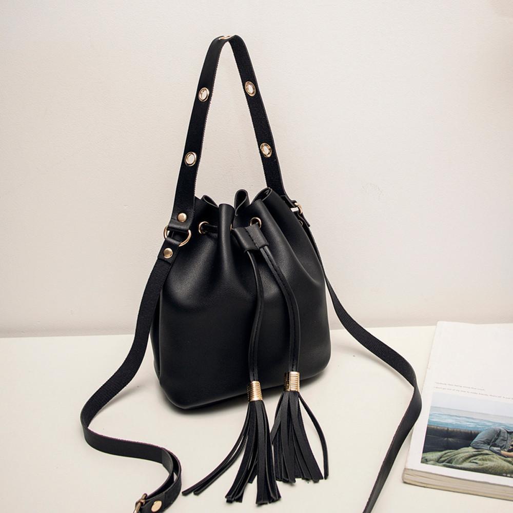 faf21abc96ed Spring New Shoulder Bags Women Candy Color One Shoulder Small Handbags  Tassel Bucket Bag High Quality Women Fashion Bags