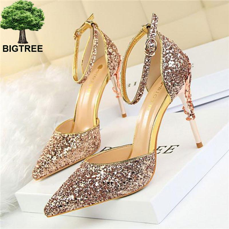 3494cdccda32 Wholesale Hot Star Bling Ankle Buckle Women Sandals Fashion Carved Metal  Heels Party Shoes Pointed Shallow High Heeled Shoes Woman Heels Gladiator  Sandals ...