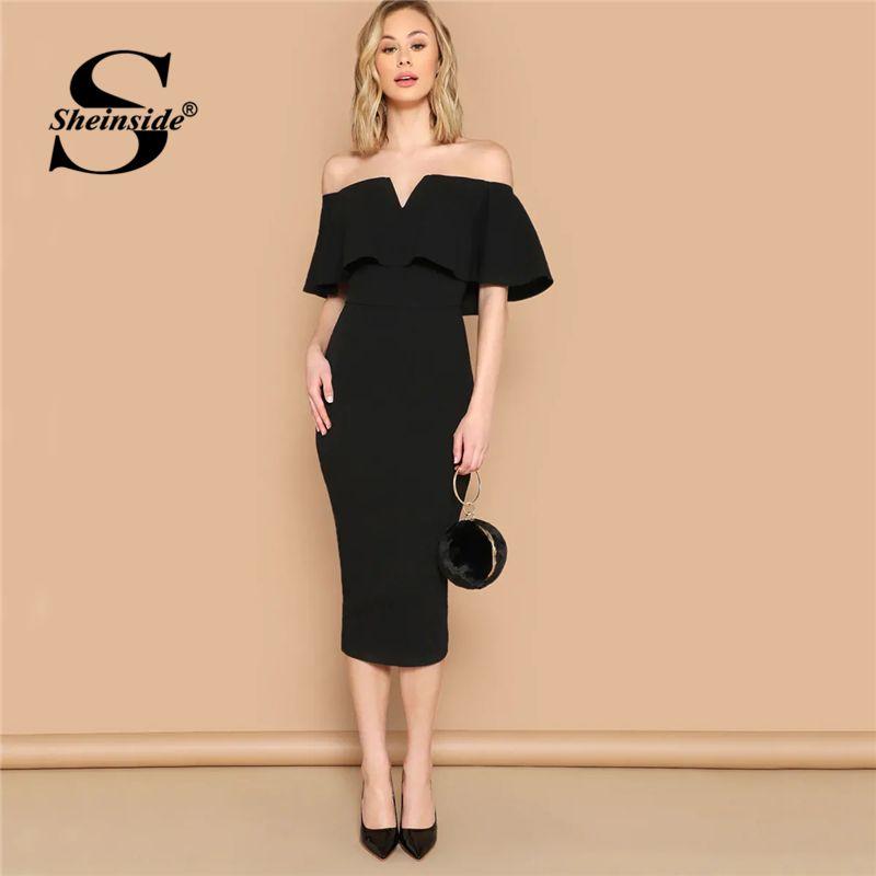 196ff6861d Sheinside Off Shoulder Solid Bodycon Long Dress Elegant Black Short Sleeve  Women 2019 Spring Dresses Solid Ladies Pencil Dress Prom Dresses Online  White ...