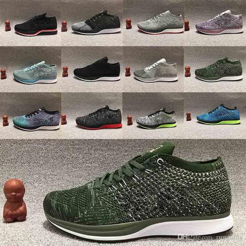 best sneakers e8927 b2e6e Compre Nike Air Zoom Racer 1 2018 Hot Air Zoom Mariah Fly Racer 1 Mujer  Hombre Atlético Todo Negro Rojo Verde Calzado Casual Tejido Racer  Zapatillas De ...
