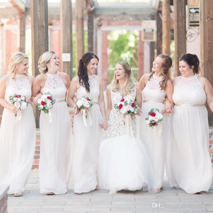 White Bridesmaid Dresses Cheap Long