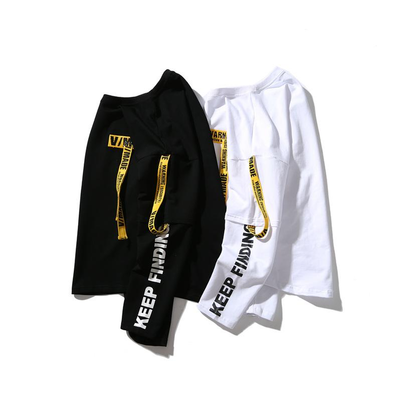 Designer pullover couple sweater men and women hip-hop ribbon fashion Korean fake two loose long-sleeved T-shirts Asian plus size