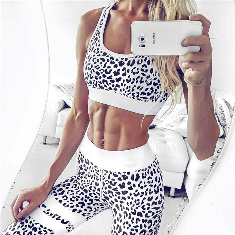 Women 'S Fitness Suits Crop Tank Top And Legging Pants 2 Pieces Set Summer Fashion Ladies Sexy Workout Leopard Printed Tracksuit