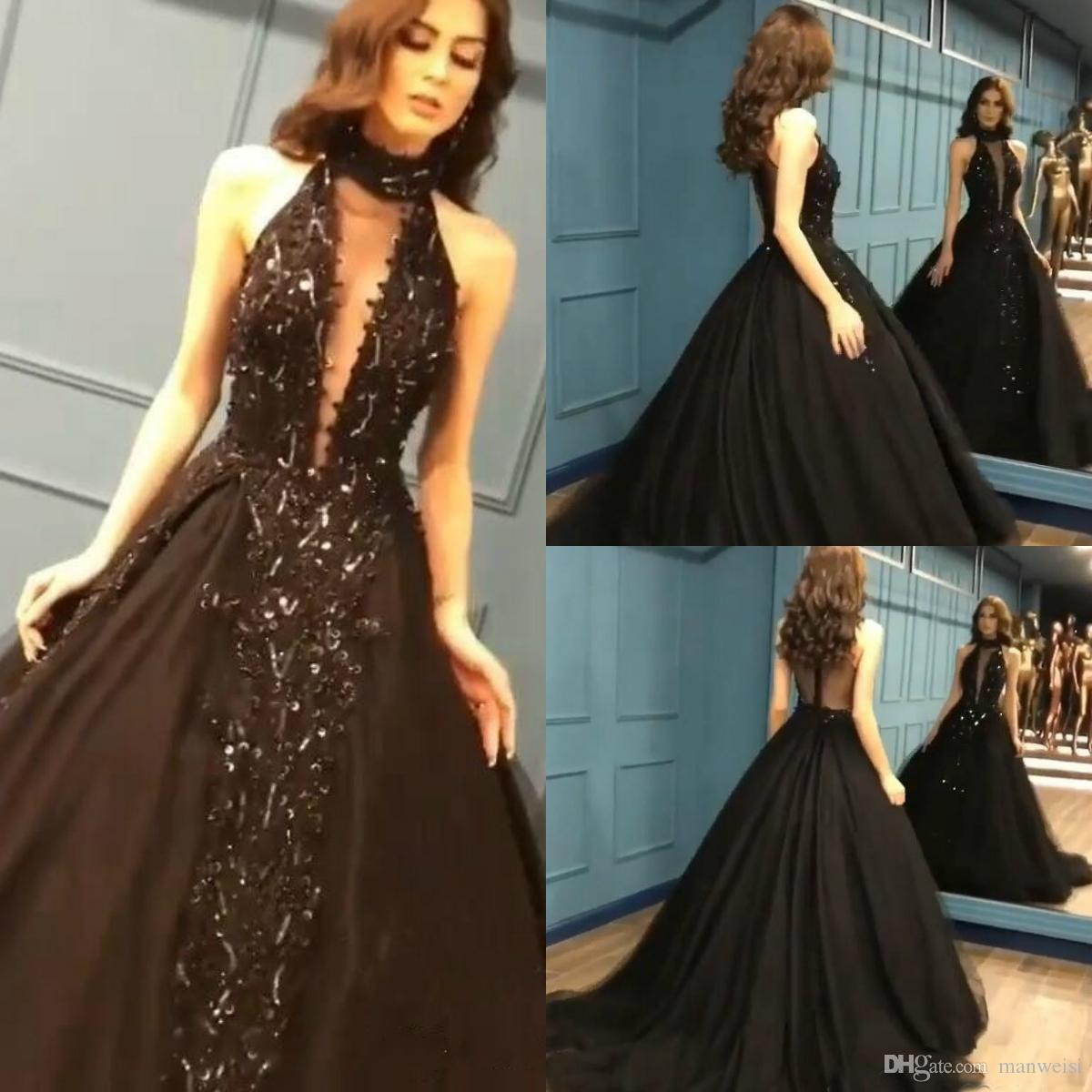 2760e1c242 Modest Sleeveless High Neck Black Prom Dresses 2019 Ball Gown Beading  Sequins Evening Dress Backless Red Carpet Party Gowns Prom Dress Ideas Prom  Dress ...
