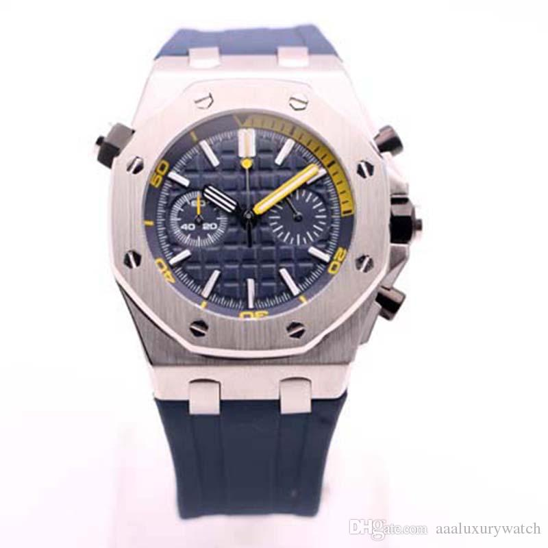Top Royal Oak Offshore Diver Chronograph 42mm Quartz Movement 26703ST Series Rubber Belt Mens Blue Dial Glass Back Watches