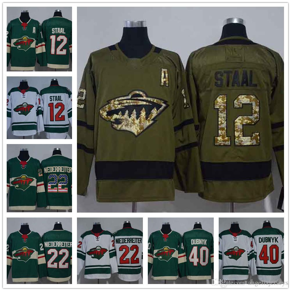 meet a195b fdf50 Man Minnesota Wild 12 Eric Staal Green Home NHL Jerseys 22 Nino  Niederreiter USA Flag 40 Devan Dubnyk White Road Stitched Hockey Jersey