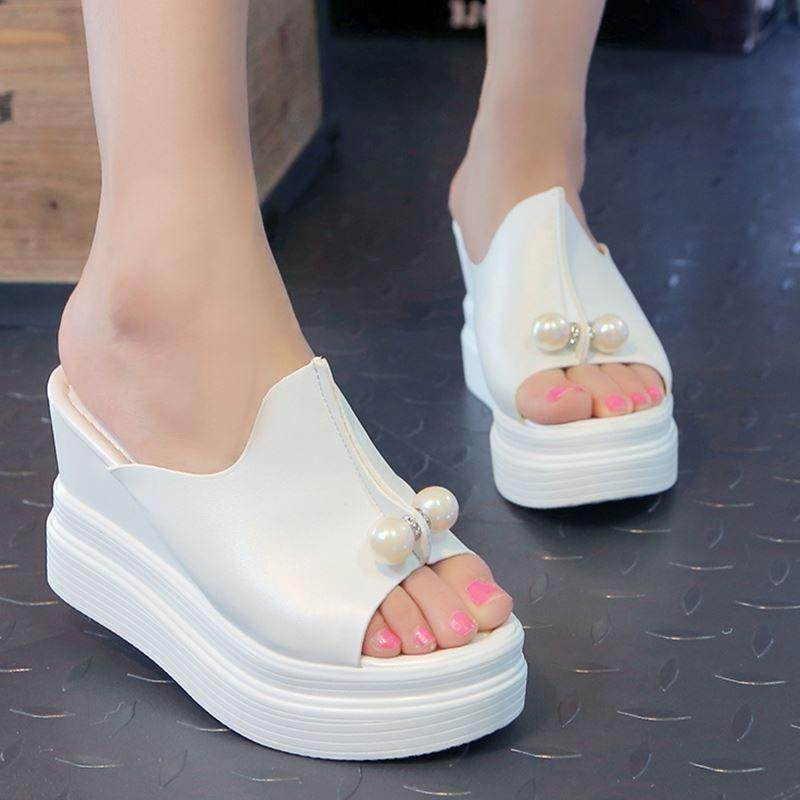dcc06a968d75 Designer Women Summer Sandals Thick Heel Platform Wedges Sandals Sexy  Beading Slippers Sandalias Slides White Black High Shoes Clogs For Women  Cheap Shoes ...