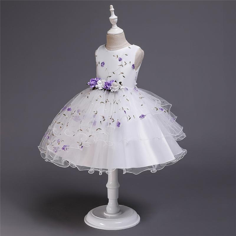 Kids Clothing Simple Kids Designer Clothes Girls Cute Pettiskirt Embroidered Flower Print Girls Dress Flower Decoration