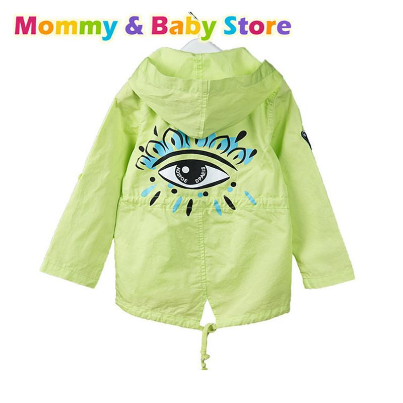 Baby Girls Cotton st patrick's day Jacket Coat Hooded Green Overcoat Children's Outwear Child Long Trench Coat 2 3 4 5 6 7 Years