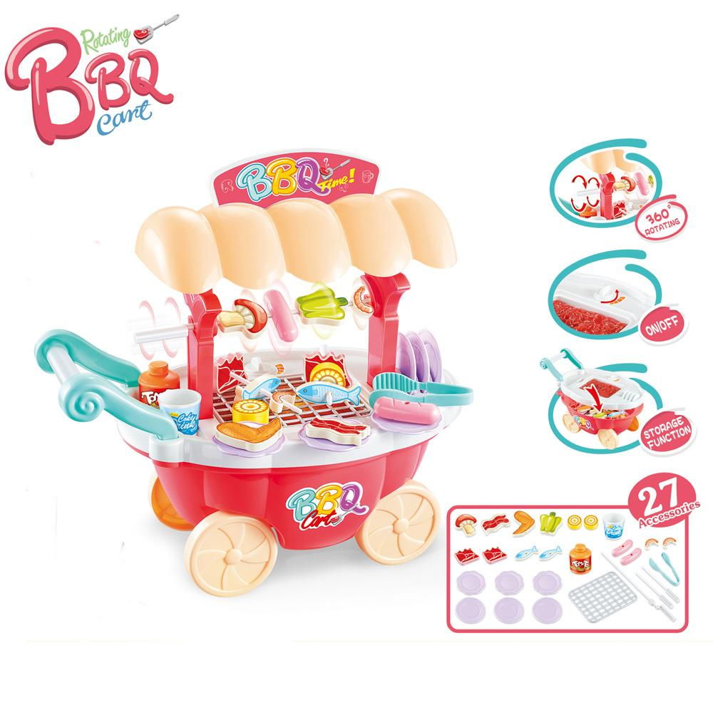 2019 sound light rotating bbq trolley kids kitchen set toys for children kitchen girls boys pretend play miniature food cooking toy from toyguiyang