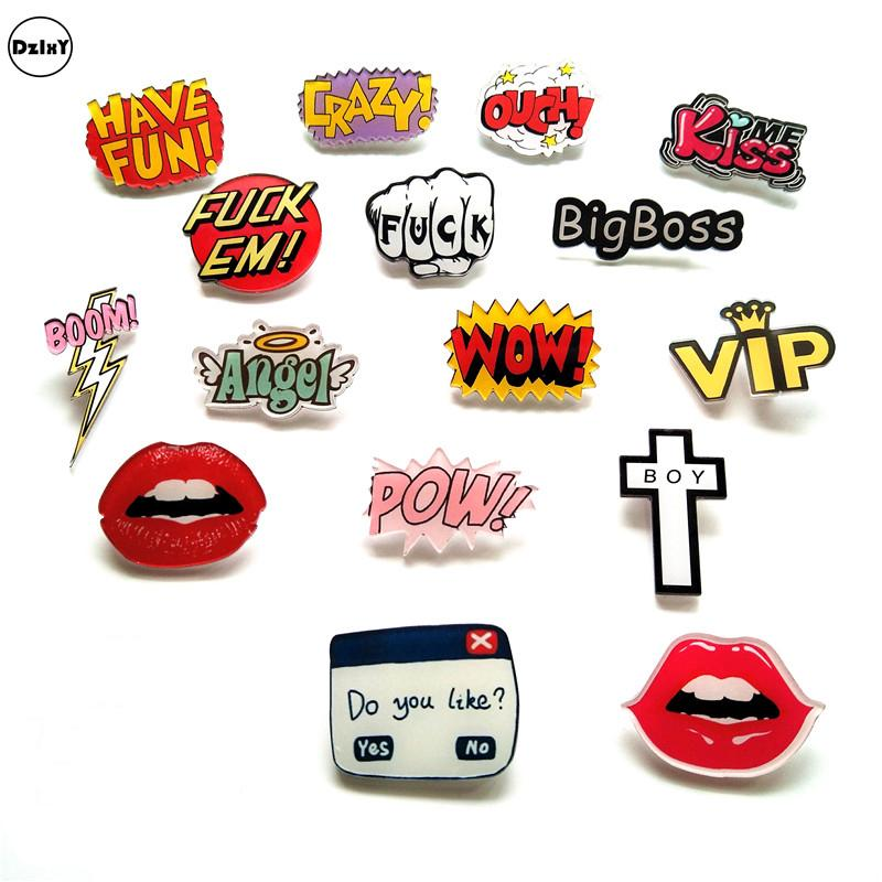 54387d27b9 Compre 100 UNIDS Carta De Dibujos Animados POW Acrílico Pins Iconos  Insignias En Mochila Raya Decoración Broche Insignia Relámpago Para Ropa @Y  A $136.05 ...