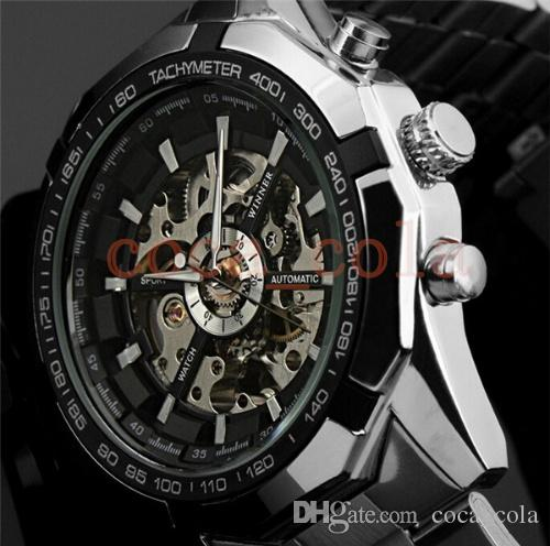 WINNER Men Automatic Watches 45mm Top Luxury WATCH Brand Man Classic Stainless Steel Self Wind Skeleton Mechanical Watch Fashion Male Clock