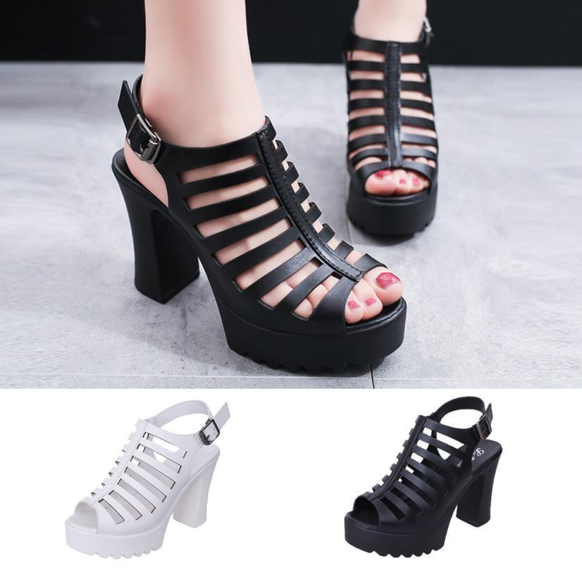 b7269fc8c Dress Shoes Muqgwe Hollow Out Rome Style Summer Woman Chunky High Heels Ankle  Strap Black White Sandals Women Sexy Peep Toe Pumps 2019 Casual Shoes For  Men ...