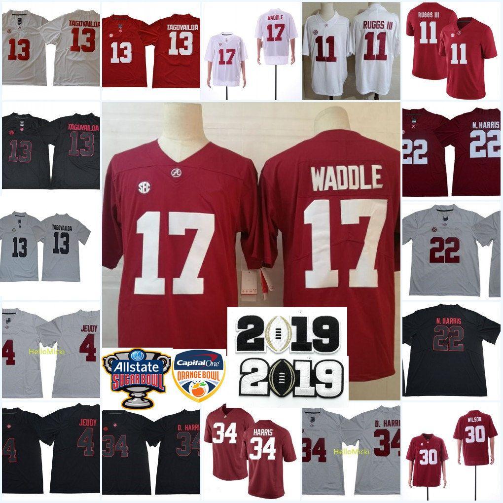 efe40b04ba2 2019 Alabama Crimson Tide Jaylen Waddle Football Jersey Tua Tagovailoa  Damien Harris Jerry Jeudy Henry Ruggs III Mack Wilson Najee Harris Jersey  From ...