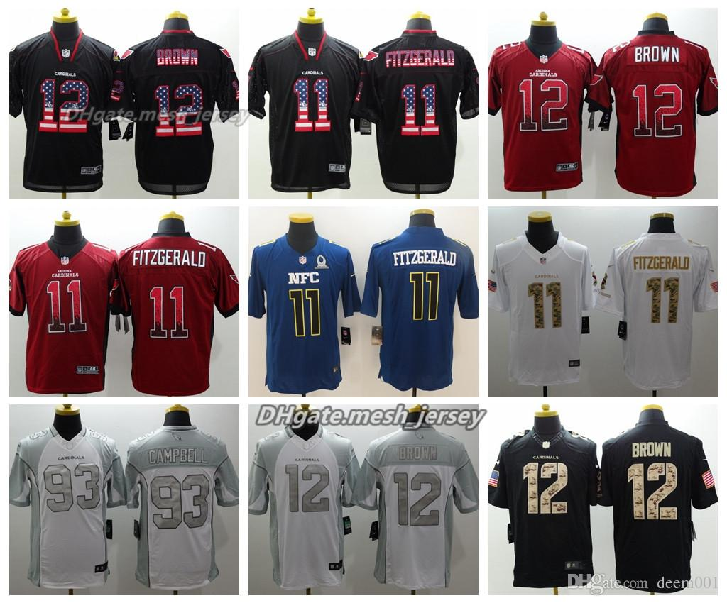low priced 90474 f767a Men Arizona Jersey Cardinals 12 John Brown 11 Larry Fitzgerald 93 Calais  Campbell Color Rush Stitching Football Jerseys