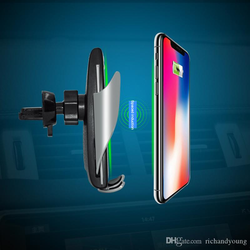 Il più nuovo S5 Automatic Carrier Wireless Car Charger Receiver Holder Mount Smart Sensor 10W Caricabatterie veloce di ricarica per iPhone Samsung