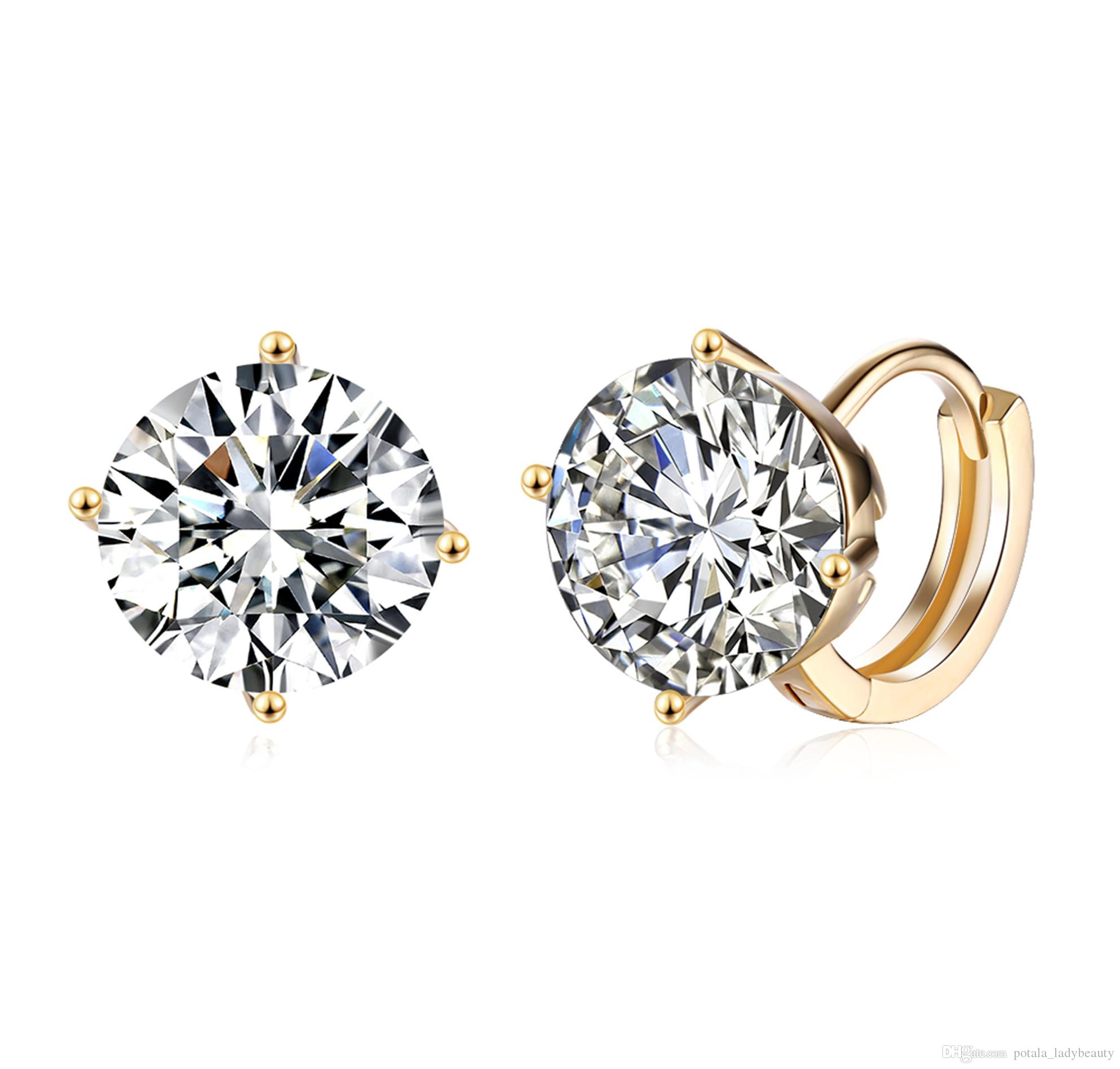 e6335dfe6 2019 Luxury Earrings Round Pattern Mosaic White Zircon Clip On&Screw Back  Earring Accessories Simple Elegant Christmas Romantic Gifts POTALA150 From  ...
