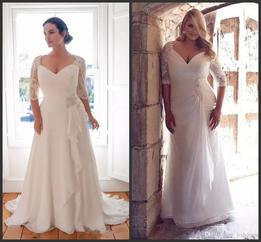 2019 New Vintage Plus Size Wedding Dresses With Half Sleeve Custom Made  Lace Chiffon Bridal Gowns Floor Length Garden Sheath Wedding Dress
