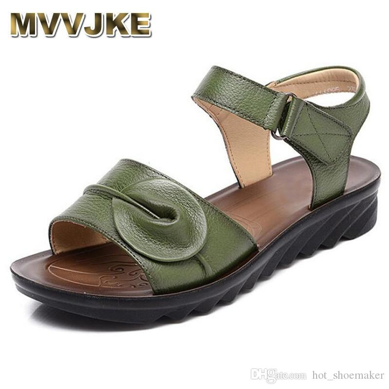 89ec06380 MVVJKE Summer Women Genuine Leather Sandals Vintage Ladies Flat Sandials  Ankle Strap Fashion Casual Platforms Soft  10164 High Heel Shoes Wholesale  Shoes ...