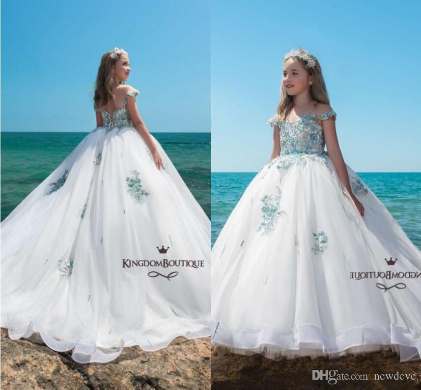 19c0fea73e 2019 Princess Flower Girls  Dresses for Weddings Ball Gown Girls Pageant  Dresses Puffy Elegant Off Shoulder Beaded Kids Formal Prom Gowns