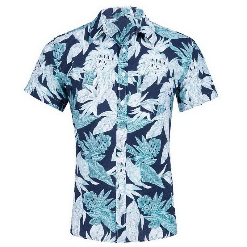 new products bd3f2 224a1 HEFLASHOR 2019 Estate Mens Camicie hawaiane Manica corta Floarl stampato  Beach Camicie Casual Masculina Estate Moda uomo Top