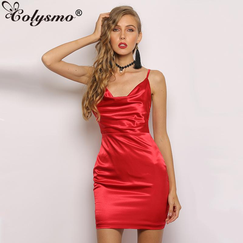 Colysmo 2 Layers Silky Satin Party Dress Summer Women Clothing Vintage Cowl  Neck Criss Cross Backless Classic Dress Sexy Dresses Teenage Party Dresses  ... c5ed6bfc3f6d