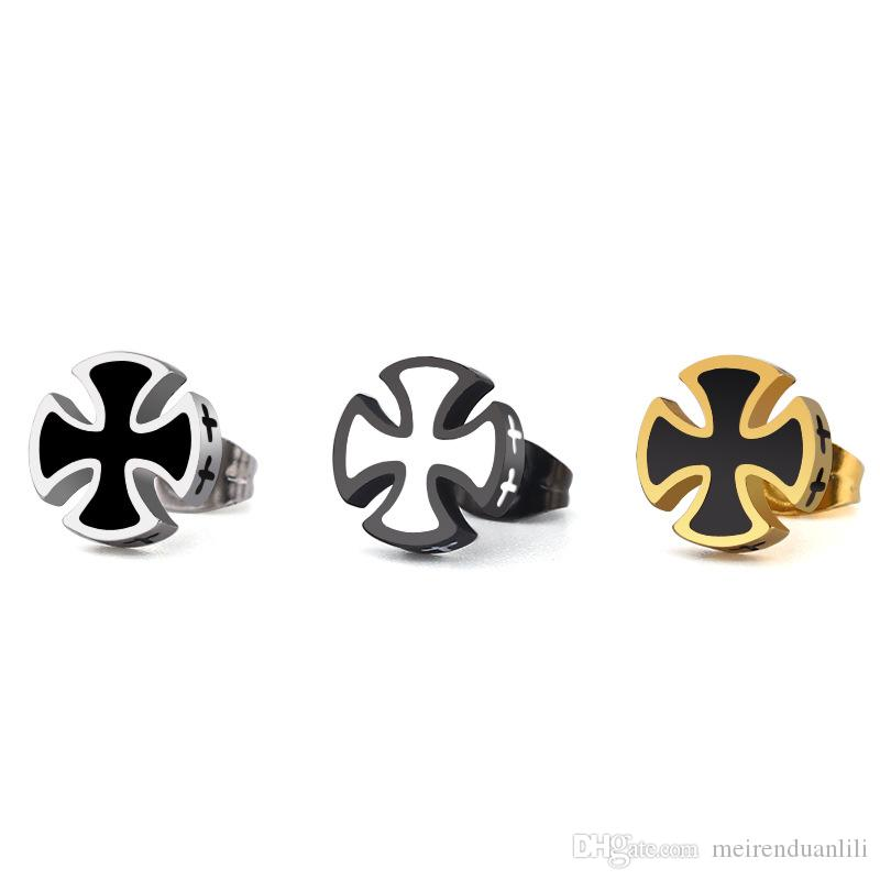 a43e7e343 Retro Cross Stud Earrings for Men Women Lover Fashion Stainless Steel Men's  Punk Drops Ear Stud Earrings Titanium Steel Hip Hop Jewelry