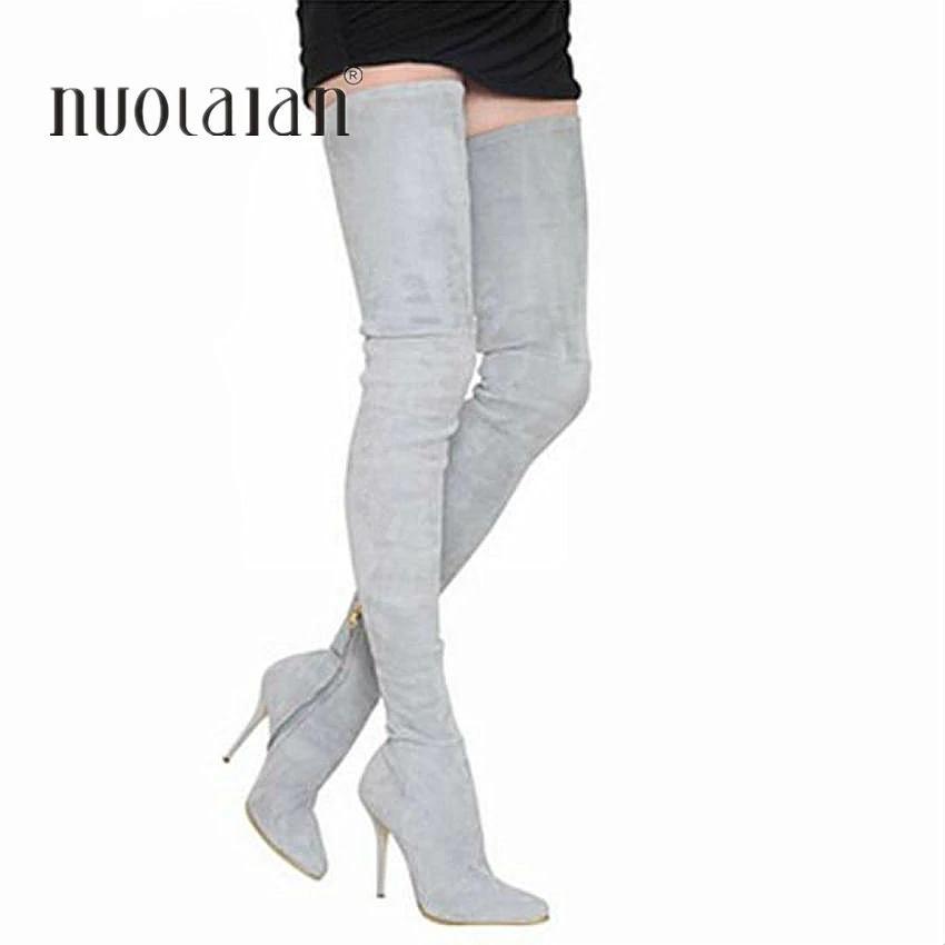 794b13b6b Compre 2018 Marca Otoño Invierno Mujer Botas Largas Estiramiento Delgado Muslo  Botas Altas Botas Sobre La Rodilla Zapatos De Tacón Alto Mujer A  67.92 Del  ...