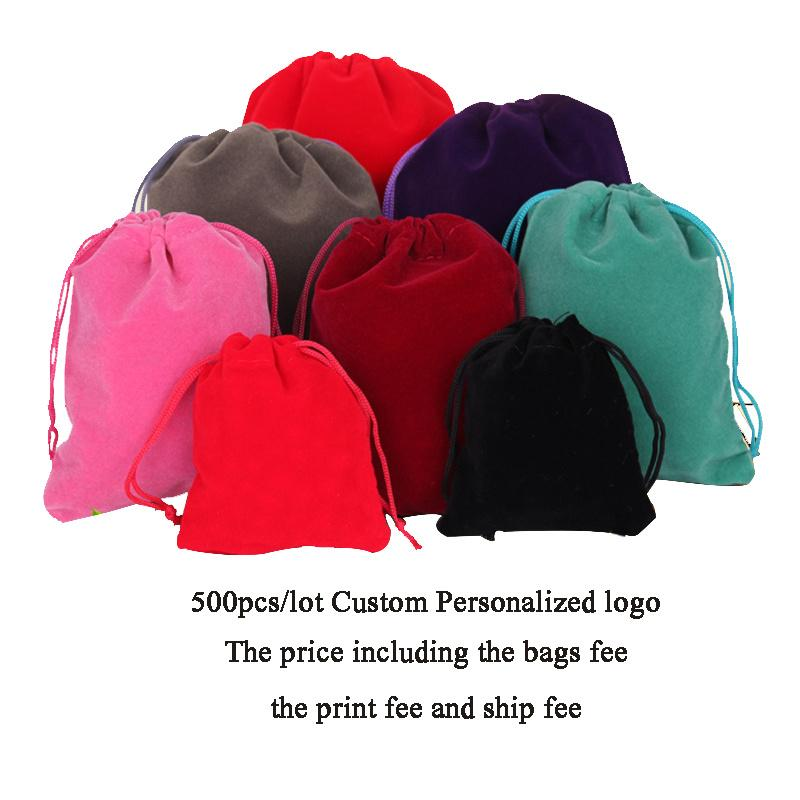 Personalized Custom Logo Velvet Jewellery Drawstring Bag Chic Wedding Favor Makeup Jewelry Gift Packaging Pouch Wholesale