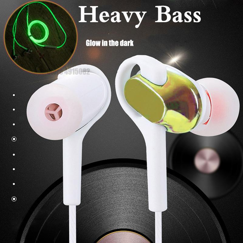 3 5mm Wired Earphone For IOS Android Ear Hook Volume Control Microphone  Sport Earphone Music Universal In-Ear Luminous Headset