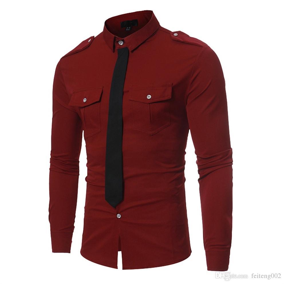6268ea28f9 Compre Camisa Formal De Negócios Dos Homens Cor Sólida Slim Fit Roupas De  Manga Longa Laço Falso Elegante Top Blusa Camisa Social Camisas Dos Homens    PT ...