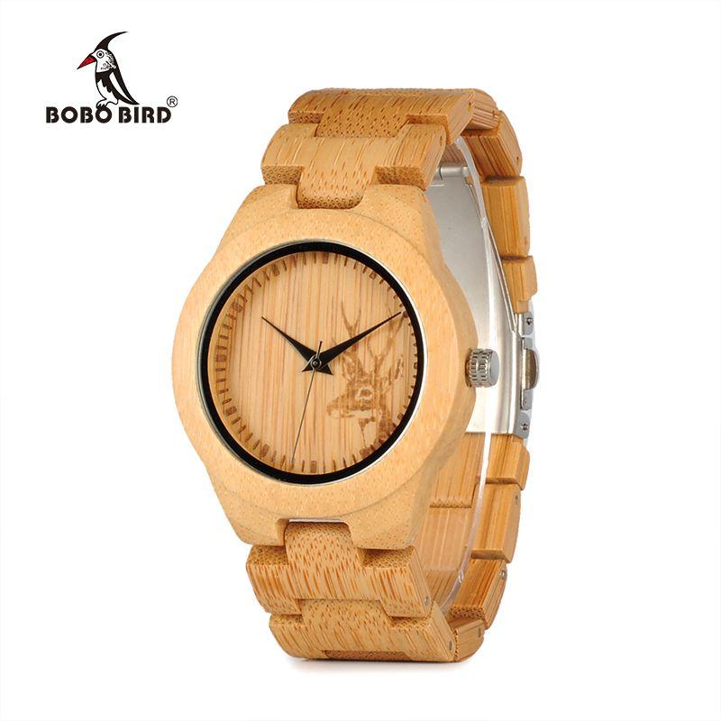 f5e3f377fa8d Relogio Feminino BOBO BIRD Watch Women Top Brand Bamboo Deer Engraving  Quartz Wristwatches Reloj Mujer Ladies Gift in Wooden Box BOBO BIRD Wood  Watch Wooden ...