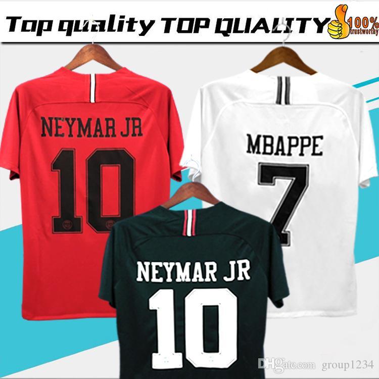promo code 5de4d ee808 New Logo PSG Champions League Soccer Jersey 18/19 #10 NEYMAR JR #7 MBAPPE  White Soccer Shirt 2019 Black PSG Football Uniform Size S-4XL