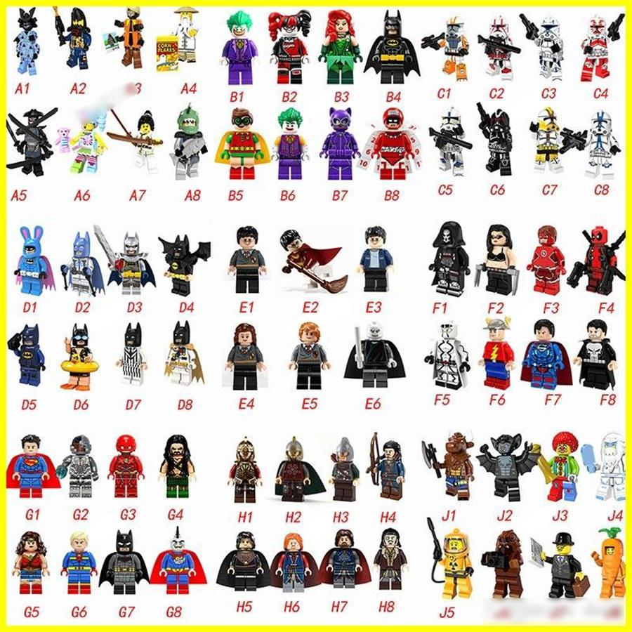 Hottest 70 type Minifig Super Heroes Avengers Spiderman Space Wars Harry Potter Hobbit Figure Super Hero Blocks Action FiguresToys