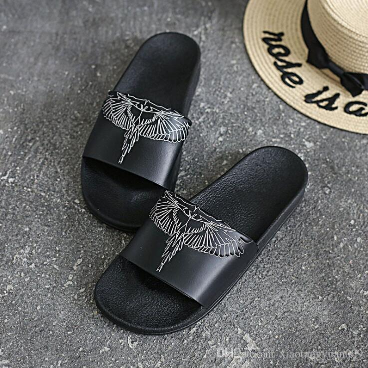 2742a78dcb56 Summer Designer Men S Slippers Wings Embossed Non Slip Slippers Wear  Resistant Slippers Silver Shoes Slipper From Xiaotangyuan009