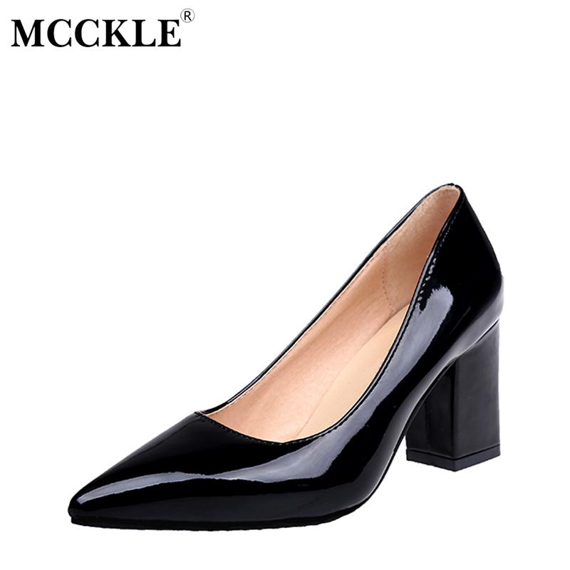 4199e4f78 Designer Dress Shoes MCCKLE Autumn Chunky Heel Plus Size Women Pumps  Pointed Toe Patent Leather High Heels Black Party Wedding Thick Heel Casual  Shoes For ...