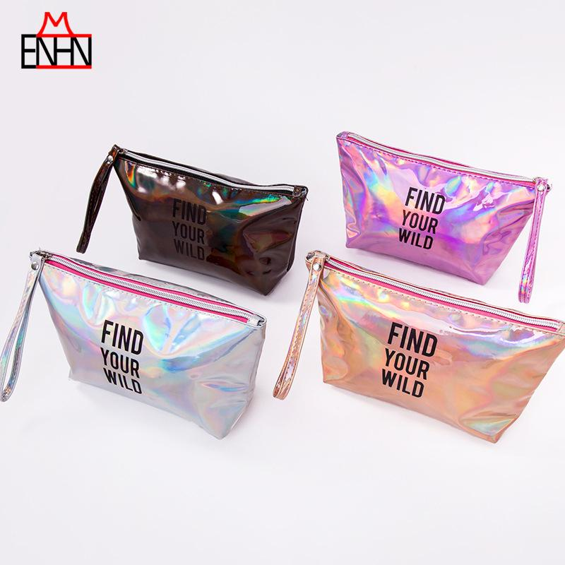 wholesale Fashion Women Colorful Clutch Make-up bag Shiny Cosmetic Bag Holographic Hologram Laser Tassel PU