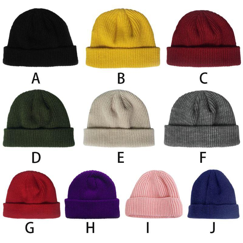 45e2a022382 2019 Women Unisex Winter Ribbed Knitted Short Melon Cap Cuffed Solid Color  Single Flanging Skullcap Baggy Retro Beanie Hat Slouchy Hi From Hcaihong