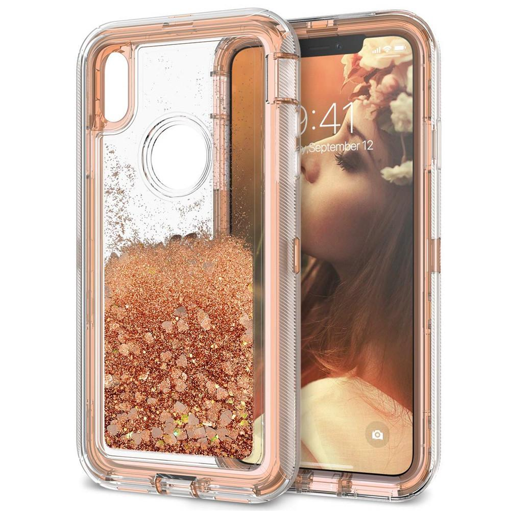 For Iphone Xs Max Defender Case Luxury Glitter Liquid Women Case Heavy Duty  Shockproof Full Body Protection Cover For Iphone XR XS Max Clear Cell Phone  ... 7152c4f22e