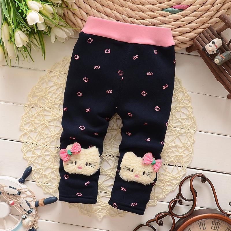 560bb8839ace BibiCola Autumn Winter Warm Pants Baby Girls Plus Velvet Thicken ...