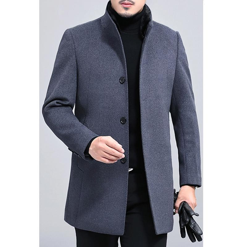 2019 SpringAutumn Trenchcoat für Jacken Herren Wollmantel Business Casual Jacken Winddichtes dünne Pea Wolljacke-C