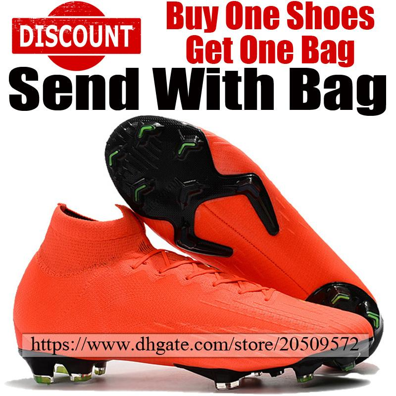 info for 04c35 50d7a 2019 Original High Top Soccer Cleats Mercurial Superfly VI Elite FG ACC  Mens Football Shoes Red Yellow Outdoor Socks Football Boots With Bag