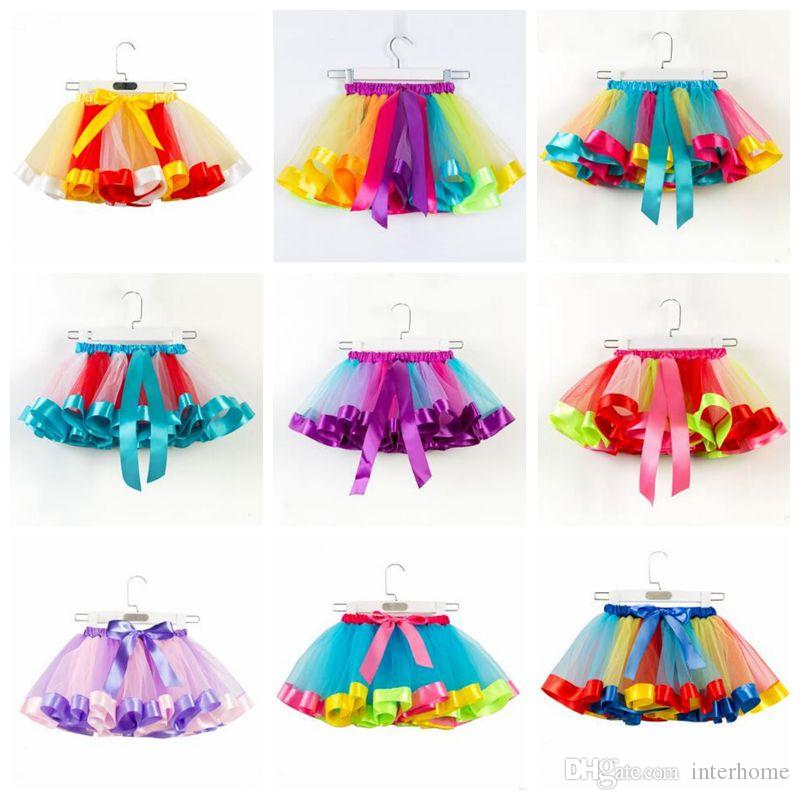 Mother & Kids 2019girls Rainbow Tutu Skirts Kids Handmade Tulle Pettiskirt Mermaid Flower Swimsuit And Flower Headband Baby Ballet Dance Tutus
