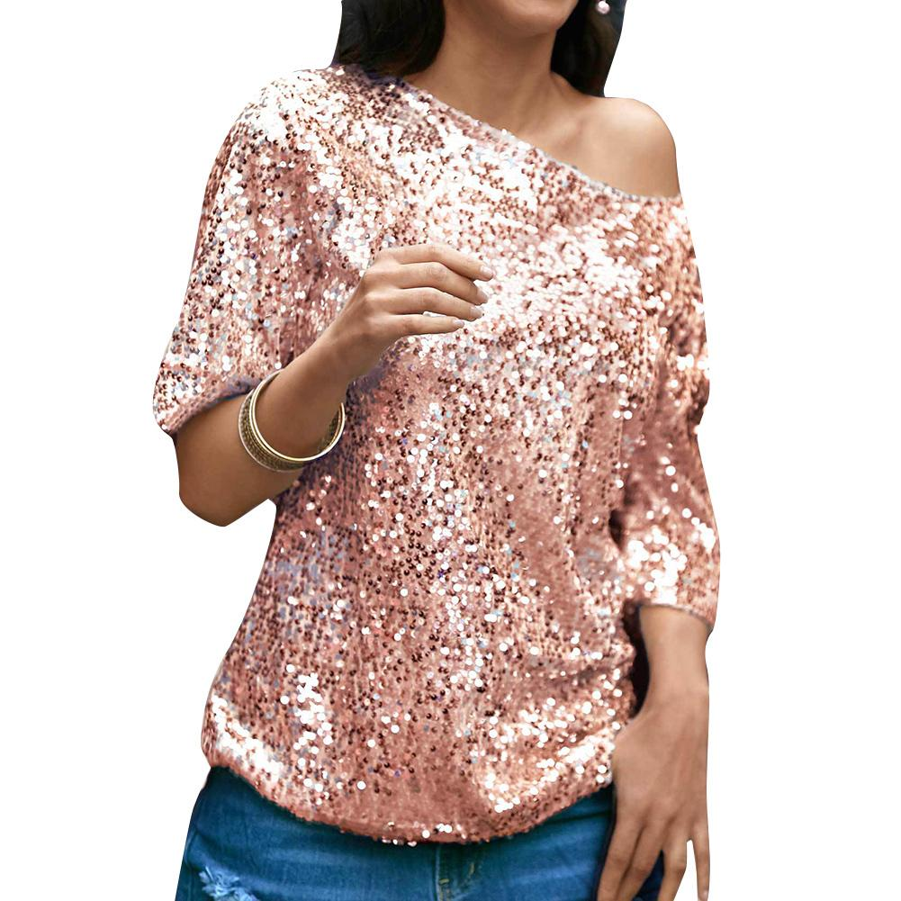 1f387674f2ee16 2019 Sexy Women Loose Off Shoulder Sequin Glitter Blouses Summer Casual Shirts  Vintage Streetwear Party Summer Tops 2019 Pink Silver From Jincaile07