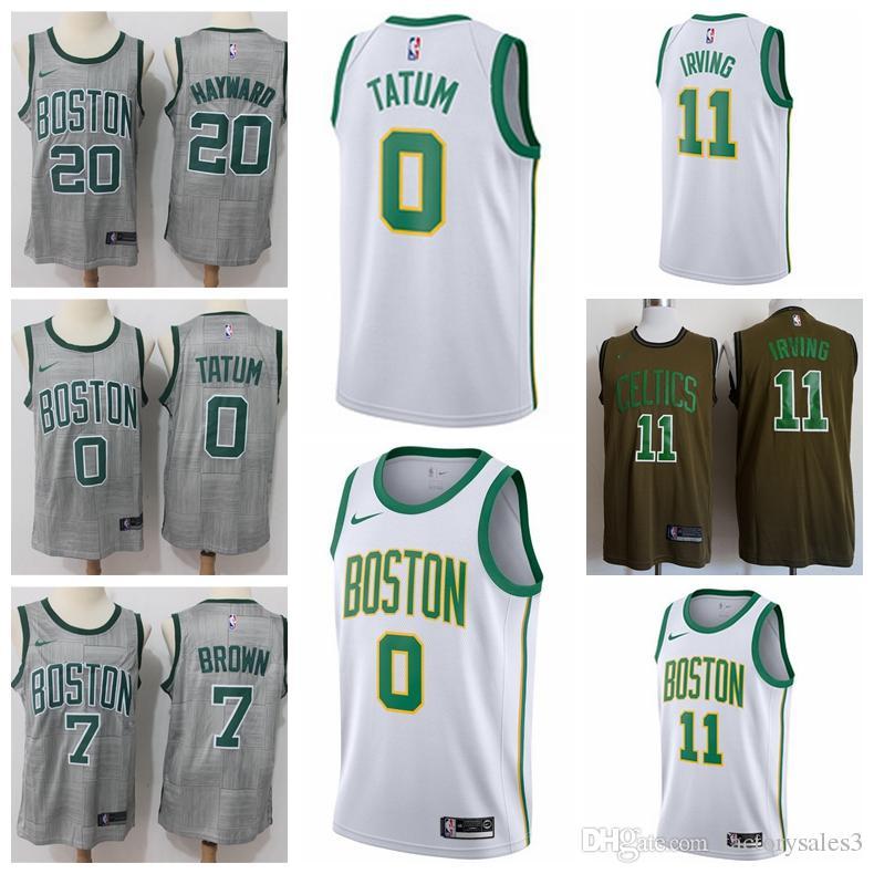 best service ad4a6 56b59 Top Quality Jerseys 2018-19 City Men Basketball Jersey 0 Jayson Tatum 11  Kyrie Irving 20 Gordon Hayward Free Shipping HOT SALE