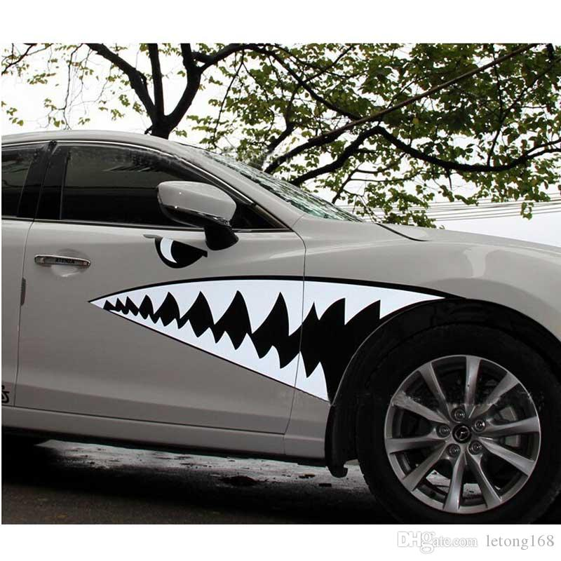 Shark Mouth Car Sticker Smart Big White Shark Body Color Cover Decals