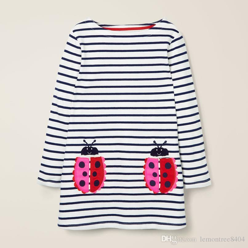 Boutique Striped dresses costume for baby blouse fashion t shirt kids tops dresses for girls pattern toddler costume Mix SIZE 2019 Fall