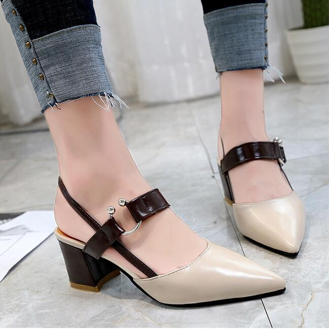 fd365cead16 2019 Spring New Hollow Coarse Sandals High Heeled Shallow Mouth Pointed  Pumps Shoes Work Shoes Women Female Sexy High Heels Womens Loafers Bamboo  Shoes From ...