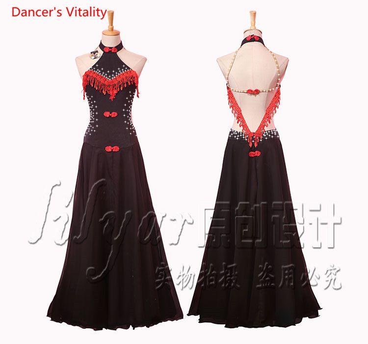 7a53e1de7 2019 Custom Women Ballroom Dance Dress Adult Female Waltz Tango Dance Stage  Performance Clothe Embroider Diamond Dresses From Firstcloth, $97.61    DHgate.