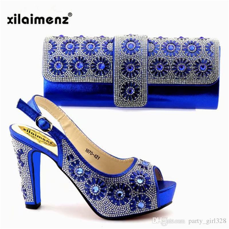 f322a2a6a Compre Nuevo Diseño 2019 Azul Real, Zapatos Africanos Y Bolsos Largos A  Juego, Bombas De Las Mujeres, Sandalias De Italia Para La Fiesta De Año  Nuevo.